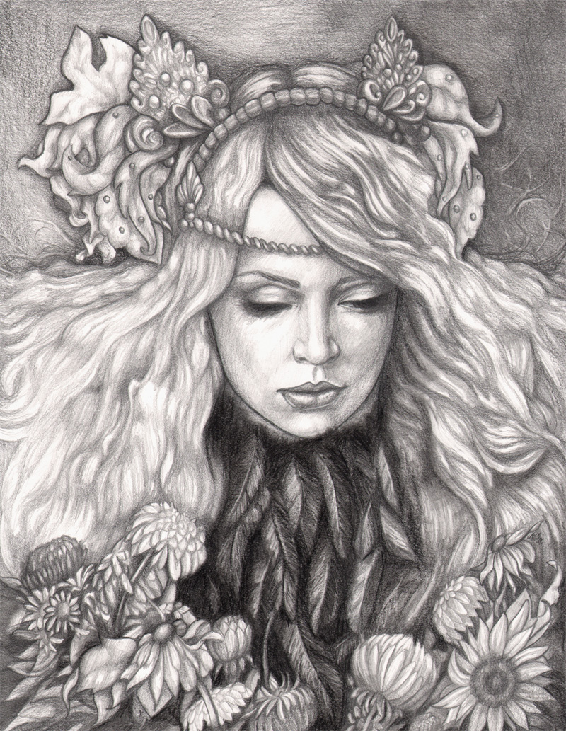Details about original pencil drawing graphite fantasy fairy autumn woman leaves gothic beauty