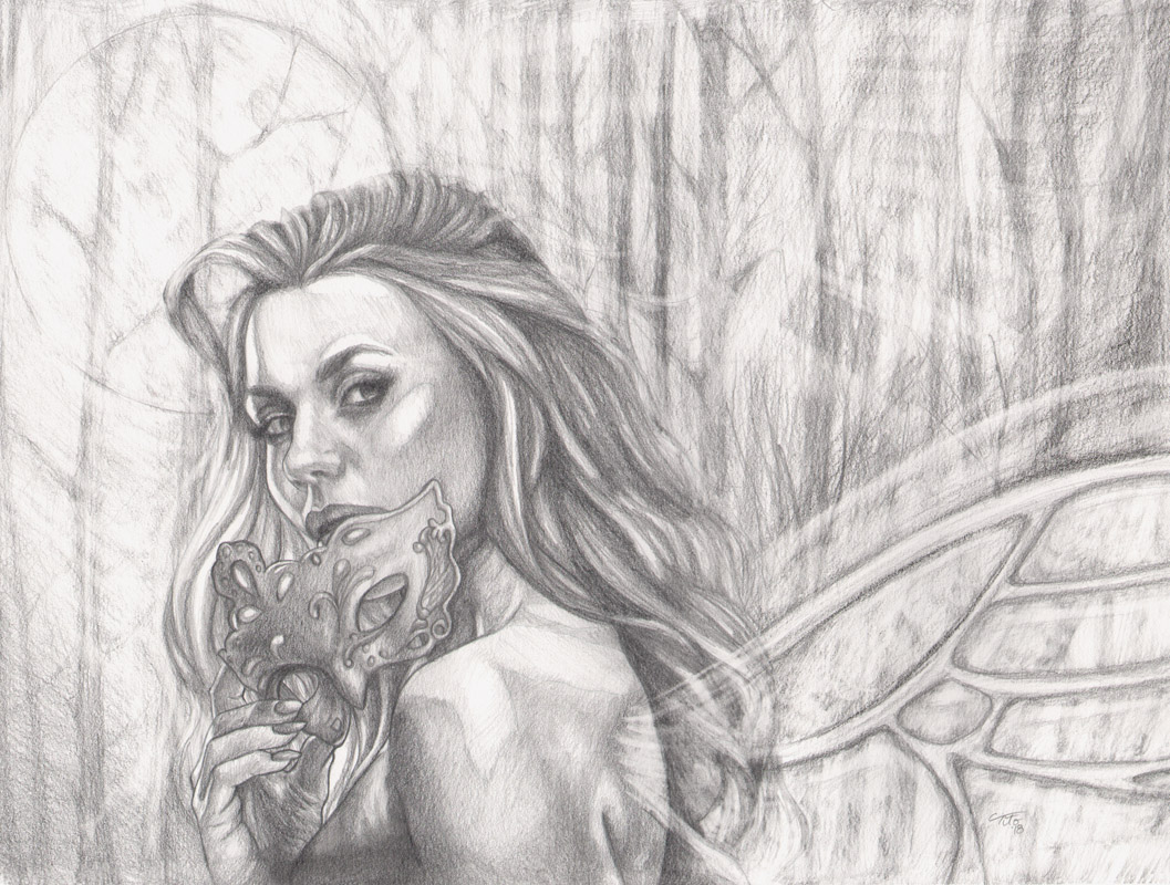 Details about original pencil drawing graphite fantasy fairy moonlight mask masquerade romance