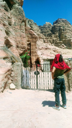 Ahmed waiting to enter in the cave