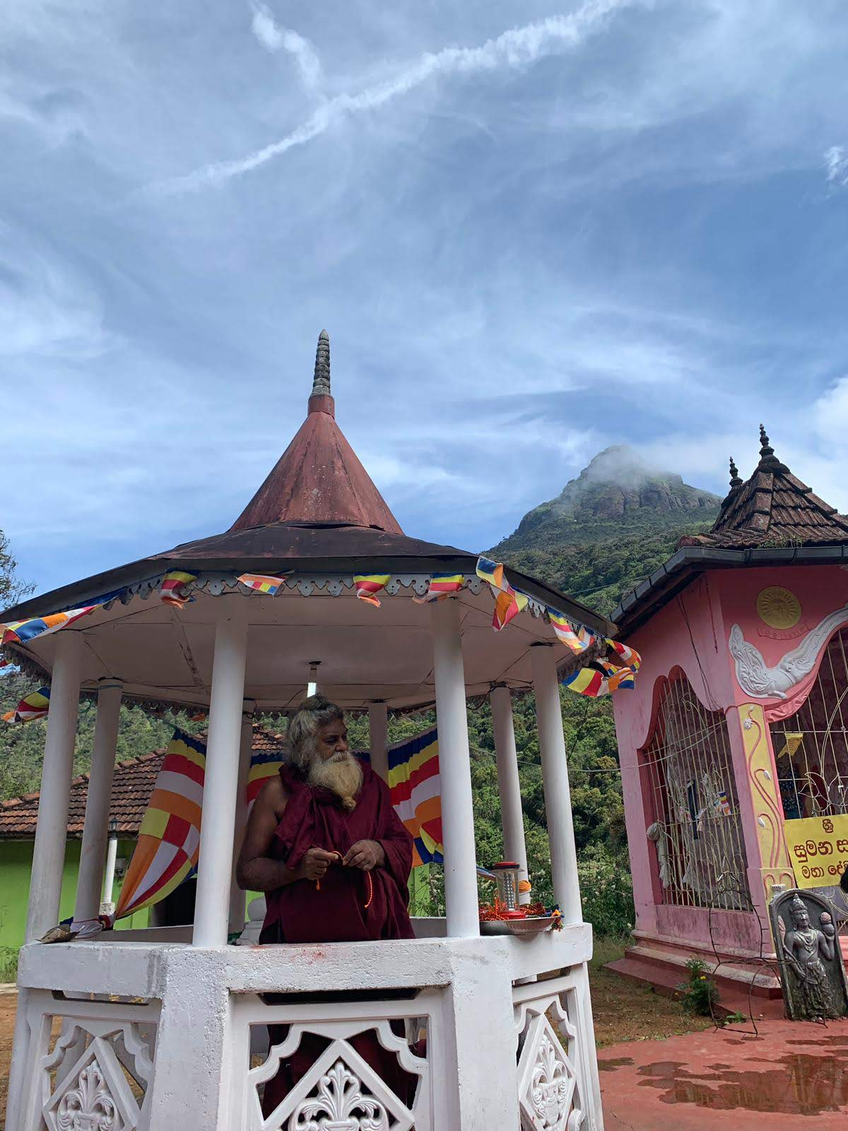 Offering a prayer to reach Sri Pada