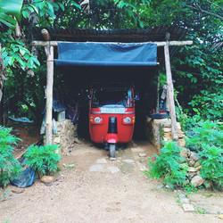 Red Raksha parked