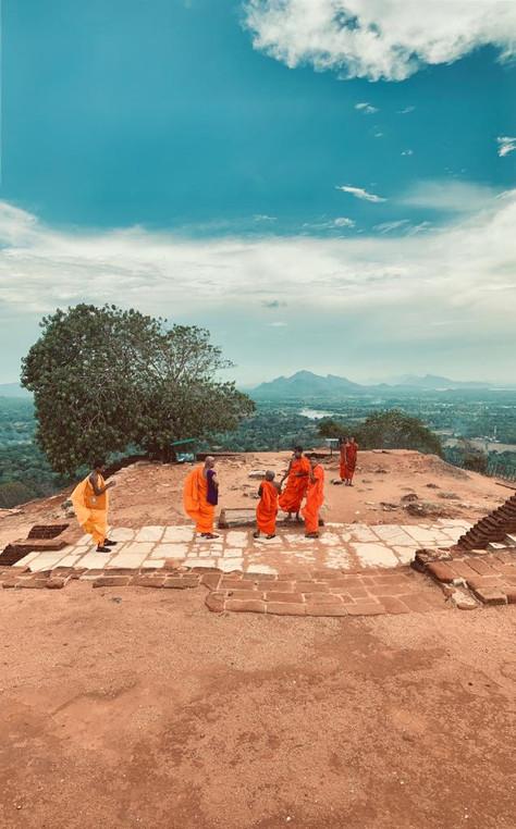 Monks gathering at the top of Sigirya - Sri Lanka