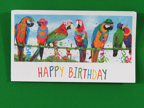 Tri-Fold Parrot Birthday Card