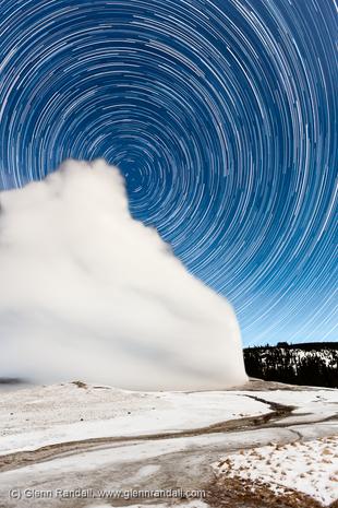 Star Trails over Old Faithful