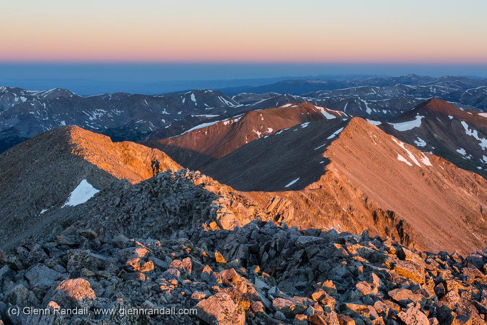 Sunrise from Tabeguache Peak, Sawatch Range, Colorado