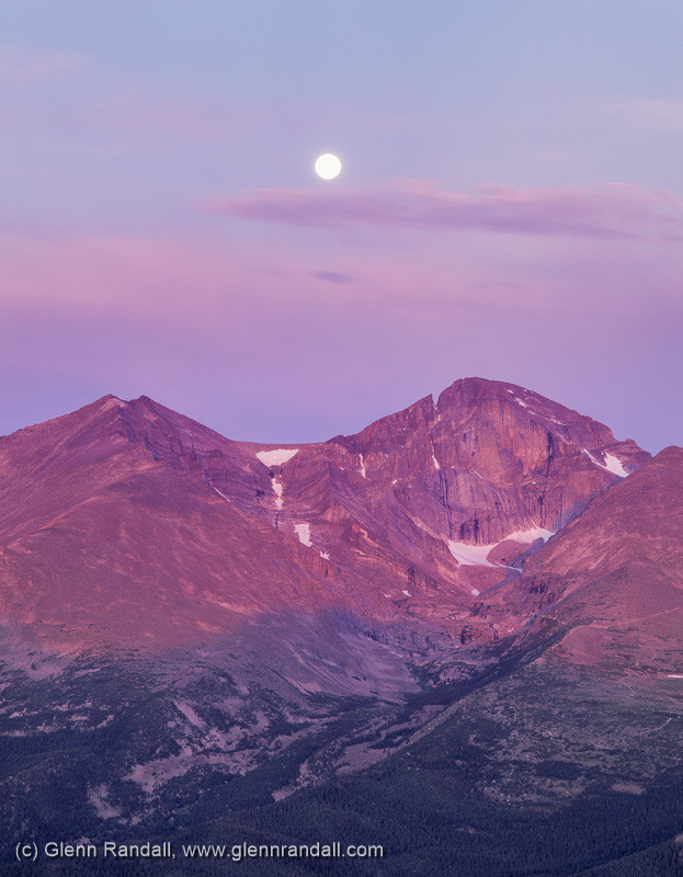 Moonset over Longs Peak, Rocky Mountain National Park, Colorado