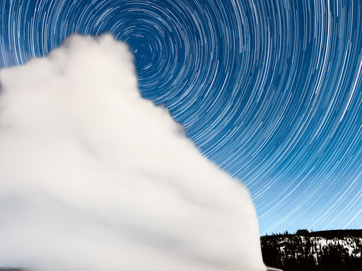The Making of Star Trails over Old Faithful