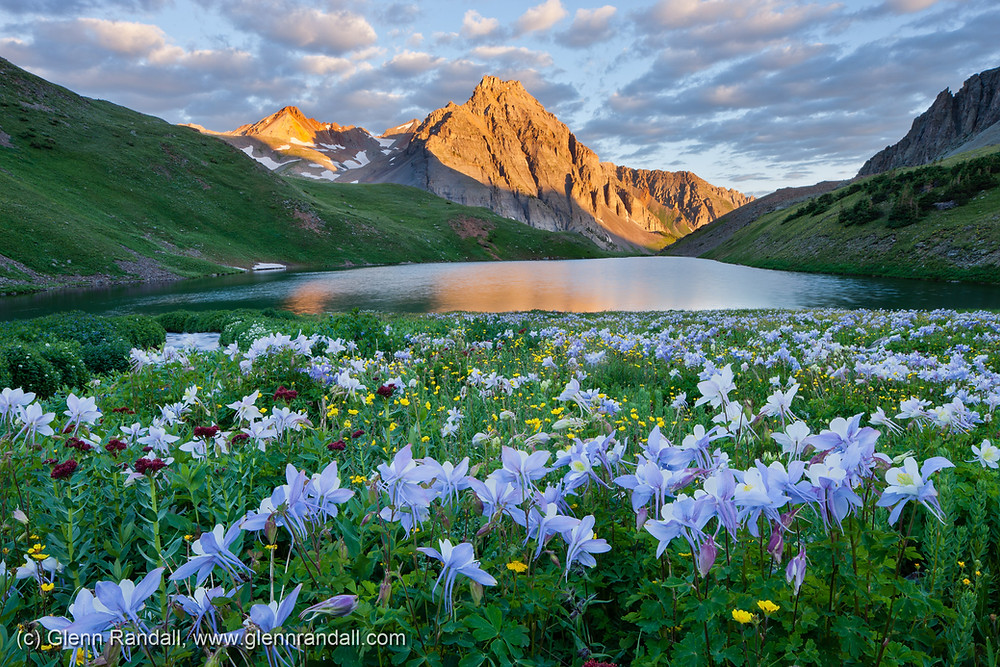 Peak 13,242, columbine and middle Blue Lake, Mount Sneffels Wilderness, San Juan Mountains, Colorado.
