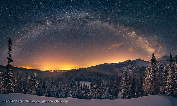 Milky Way Panorama and Longs Peak, Rocky Mountain National Park, Colorado