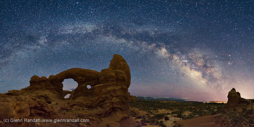 Milky Way Panorama over Turret Arch, Arches National Park, Utah