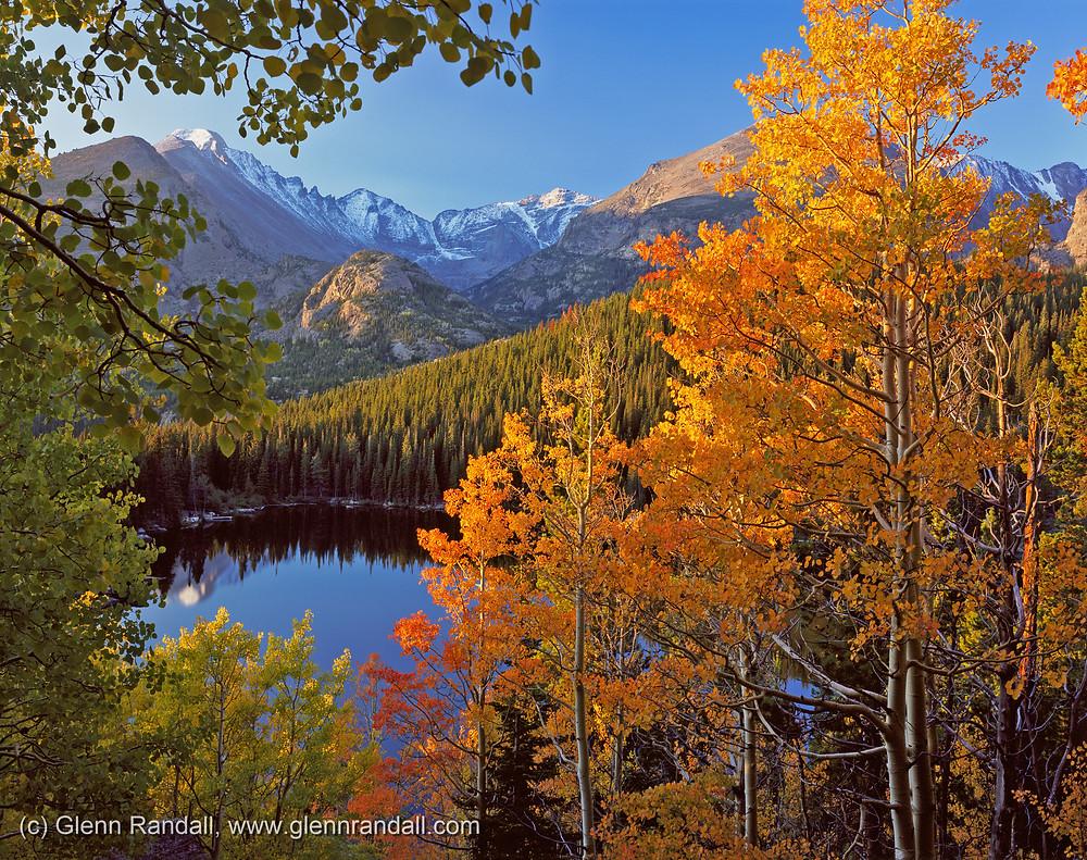Longs Peak, Glacier Gorge and Bear Lake at sunrise, Rocky Mountain National Park, Colorado.