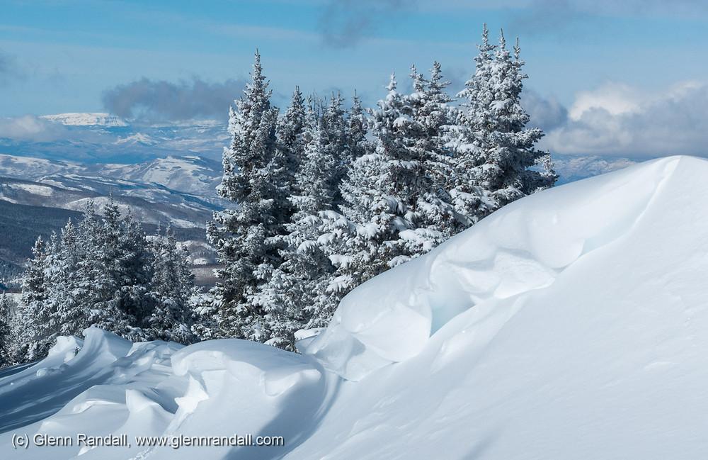 Cornices along the west ridge of Bald Mountain, in the Gore Range near Vail, Colorado