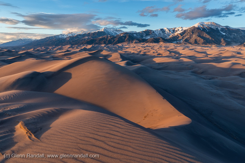The Sangre de Cristos Range from the summit of Star Dune at sunset, Great Sand Dunes National Park, Colorado