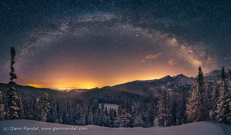 Milky Way Panorama and Longs Peak, Rocky Mountain National Park, Colorado