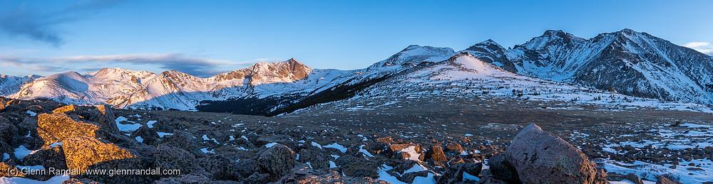 Mahana Peak, Isolation Peak, Tanima Peak, Mt. Alice, Chiefshead Peak, Pagoda Mountain, Longs Peak, and Mt. Meeker at sunrise from the summit ridge of Mt. Orton, Rocky Mountain National Park, Colorado.