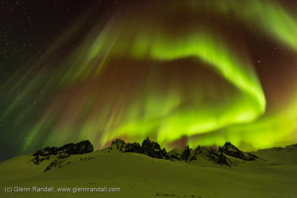 Aurora over Mt. Monolith, Tombstone Territorial Park, Yukon Territory, Canada
