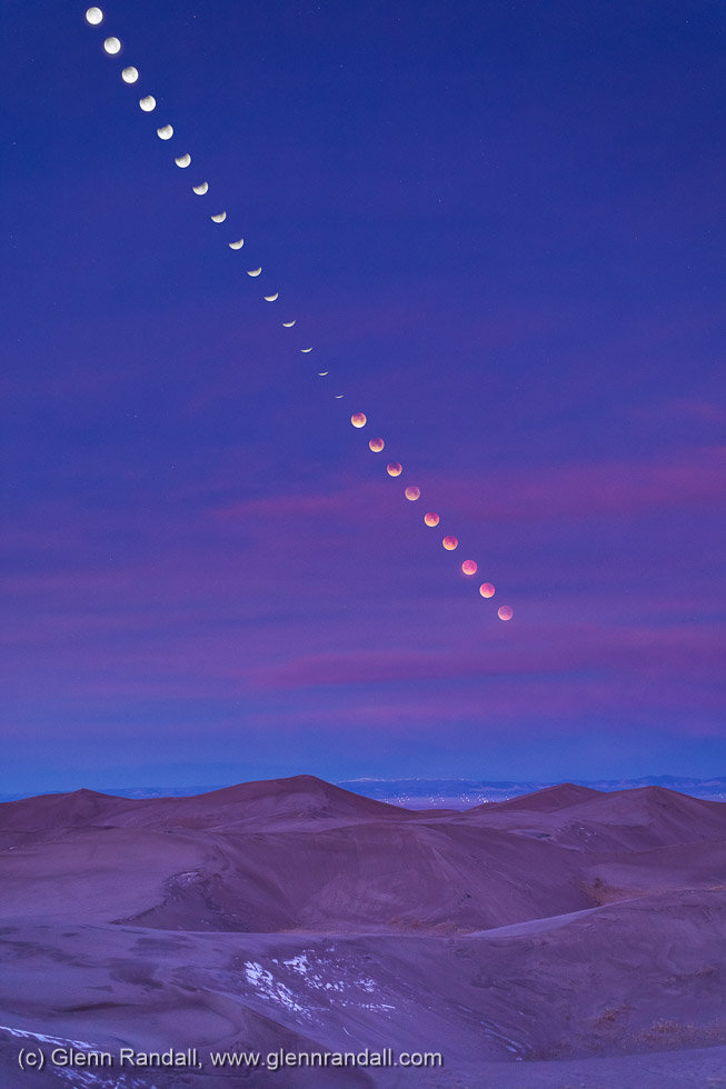 Lunar Eclipse over Star Dune, Great Sand Dunes National Park, Colorado