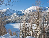 Longs Peak from Bear Lake in winter, Rocky Mountain National Park, Colorado