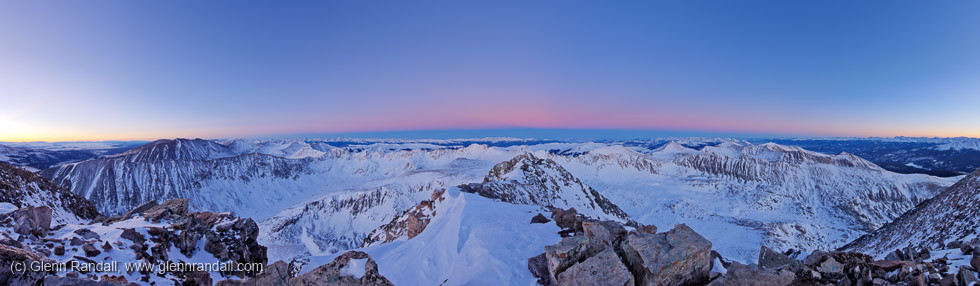 The twilight wedge from the summit of Quandary Peak.