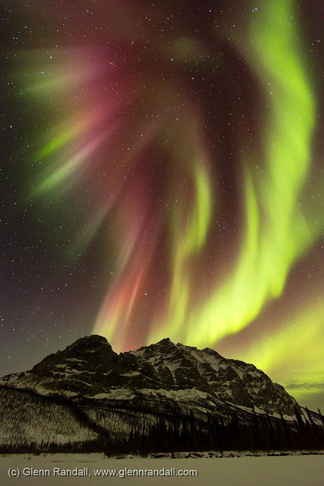 Aurora over Sukakpak Mountain, Brooks Range, near Wiseman, Alaska