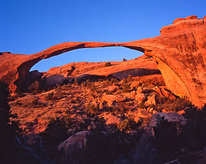 Landscape Arch at sunrise, Arches National Park, Utah