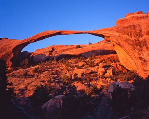 Landscape Arch at sunrise, Arches National Park, Utah