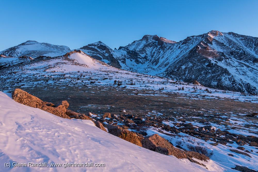 Chiefshead Peak, Pagoda Mountain, Longs Peak, and Mt. Meeker from the summit ridge of Mt. Orton, Rocky Mountain National Park, Colorado.