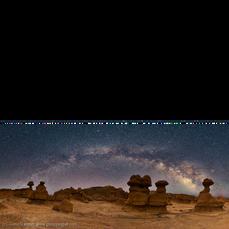 Milky Way Panorama over Goblin Valley