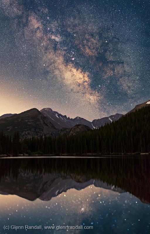Milky Way over Longs Peak and Bear Lake, Rocky Mountain National Park, Colorado