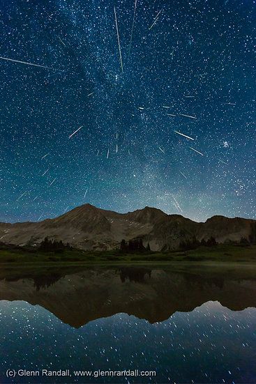 Perseid Meteor Shower over Snowmass Mountain, Maroon Bells-Snowmass Wilderness, Colorado