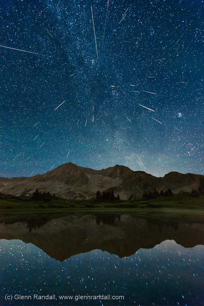 Perseid Meteor Shower over Snowmass Mountain, Maroon Bells-Snowmass Wilderness, Colorado
