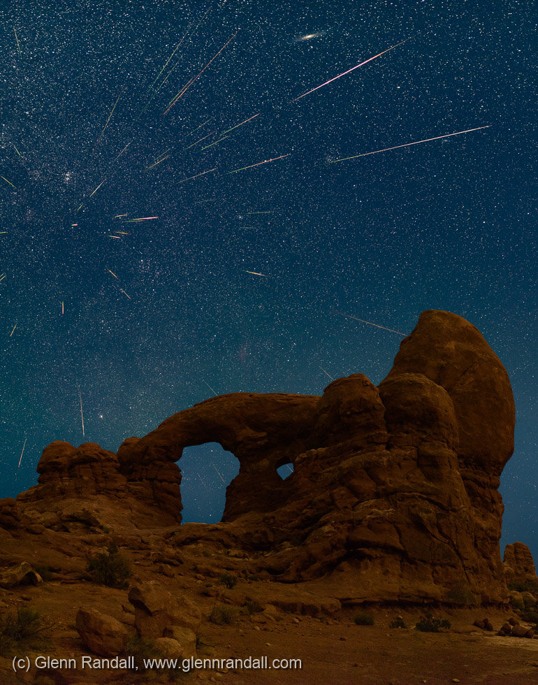 Perseid Meteor Shower over Turret Arch, Arches National Park, Utah