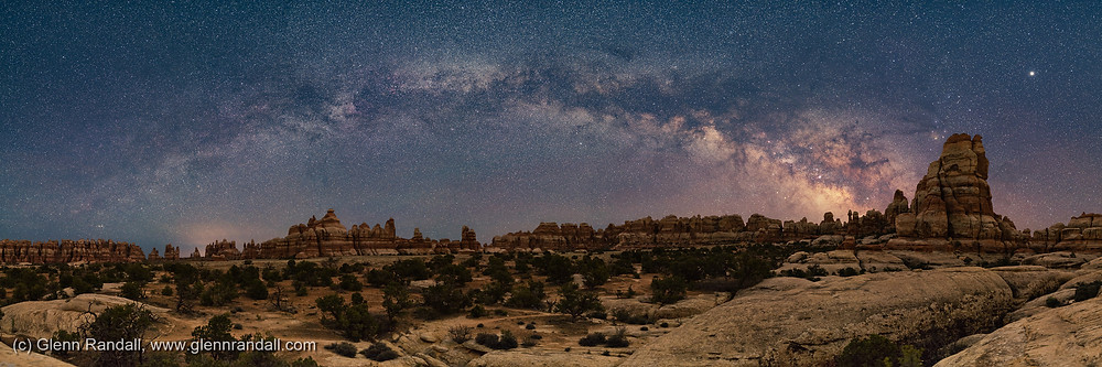 Figure 4. (Click to enlarge). Milky Way panorama over Chesler Park, Needles District, Canyonlands National Park, Utah,  on April 14, 2018, at 3:06 a.m. (the same place, date, and time as the armillary sphere shown in figure 2).