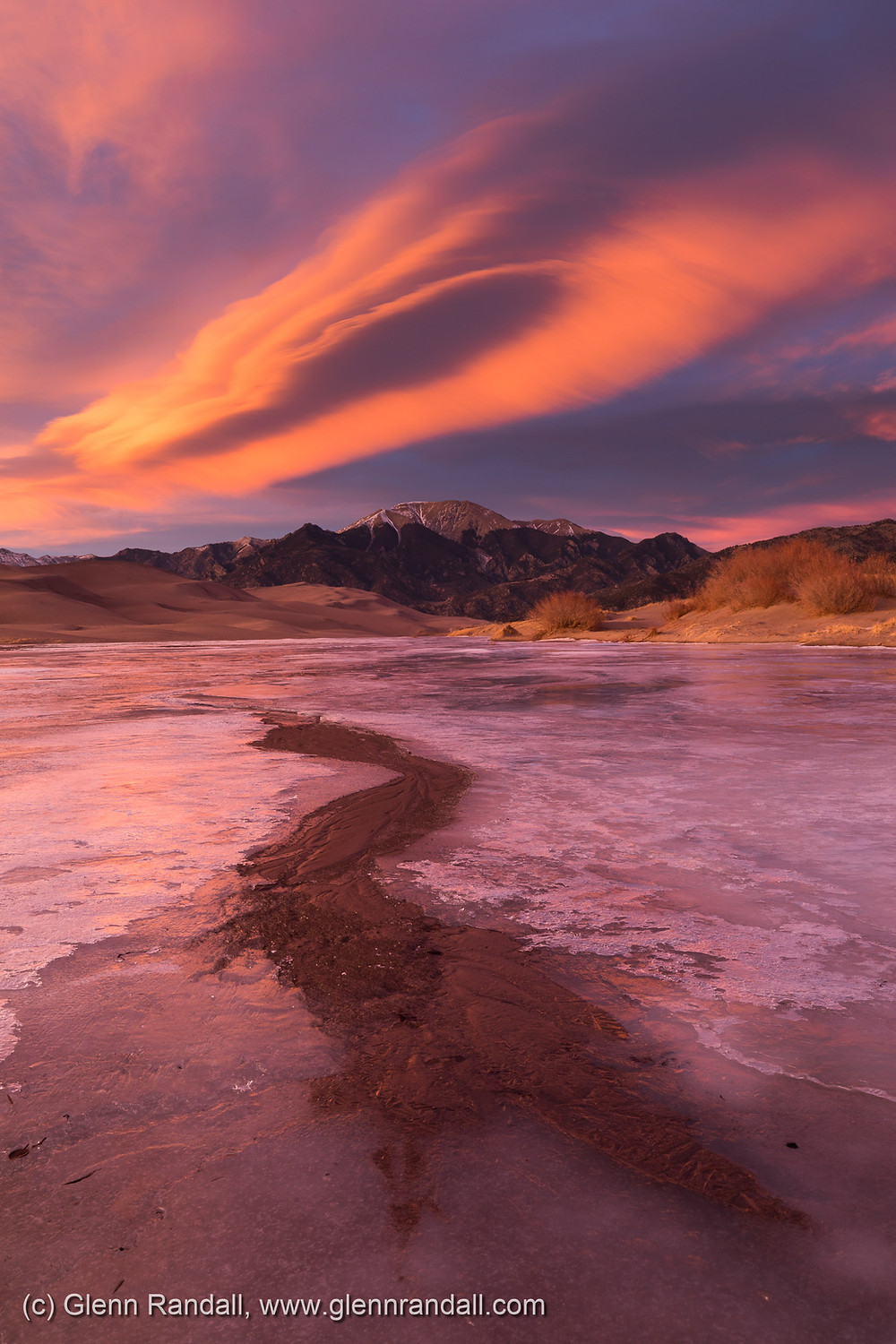 Mt. Herard and Medano Creek at sunset, Great Sand Dunes National Park, Colorado.
