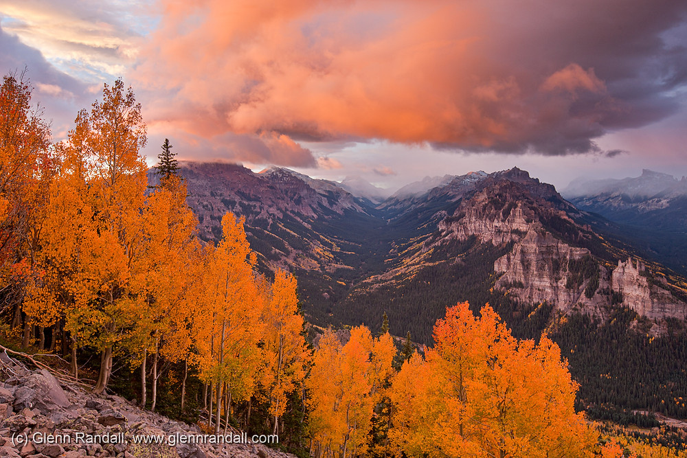 Figure 1. (Click to enlarge) Stormy sunrise over the East Fork of the Cimarron River, Uncompahgre Wilderness, Colorado.