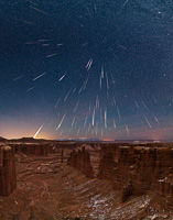 Geminid Meteor Shower over Monument Basin, Canyonlands National Park, Utah