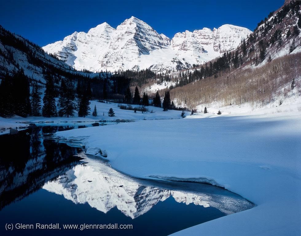 Maroon Bells in Winter, Maroon Bells-Snowmass Wilderness, Colorado