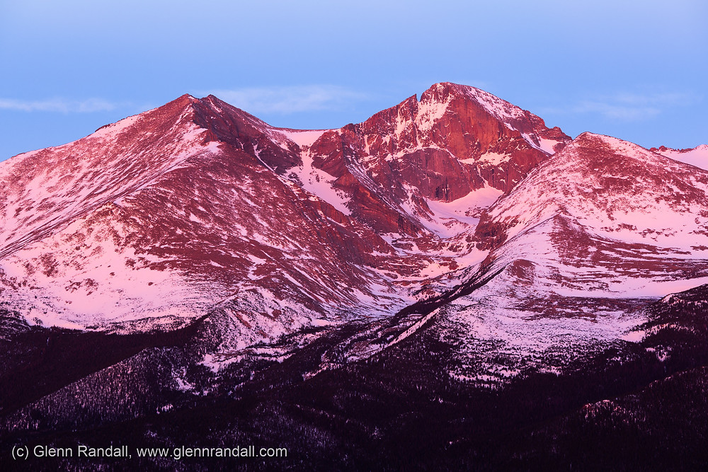 Figure 3. Twilight glow on Longs Peak, taken about eight minutes before the almanac time of sunrise.