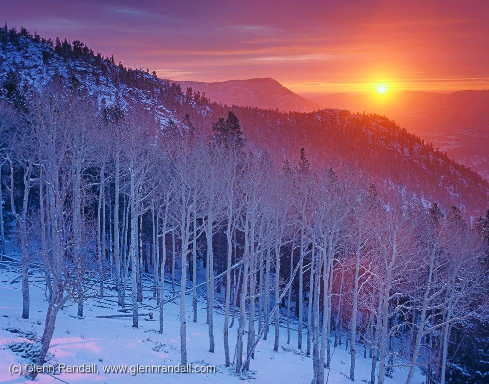 Winter Sunrise on Beaver Mountain, Rocky Mountain National Park, Colorado