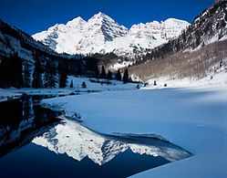 Maroon Bells in Winter, Maroon Bells-Snowmass Wilderness, Colorado