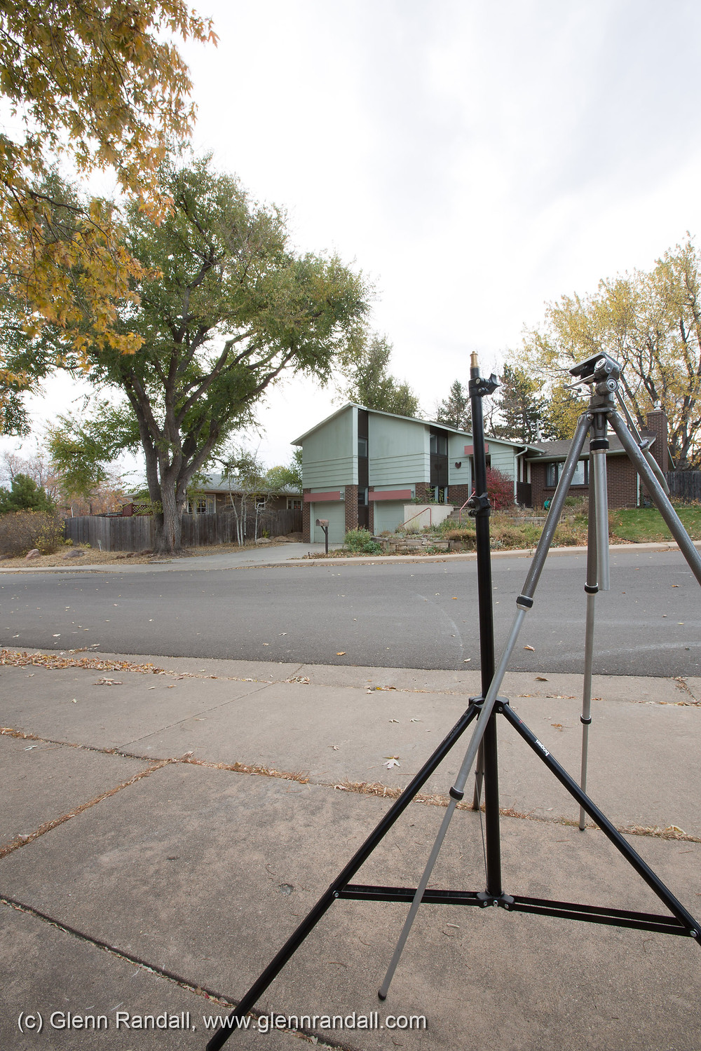 Figure 1. The left-hand component of a two-frame panorama shot with a 16mm lens about three feet from the tripod and light stand. I did not use a nodal slide.