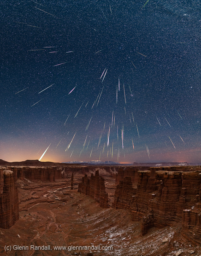 Geminid Meteor Shower over Monument Basin, Canyonlands National Park, Utah