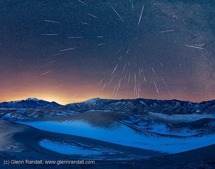 Geminid meteor shower over the Sangre de Cristo Range and Great Sand Dunes National Park, Colorado