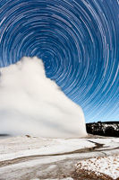 Star Trails over Old Faithful, Yellowstone National Park, Wyoming