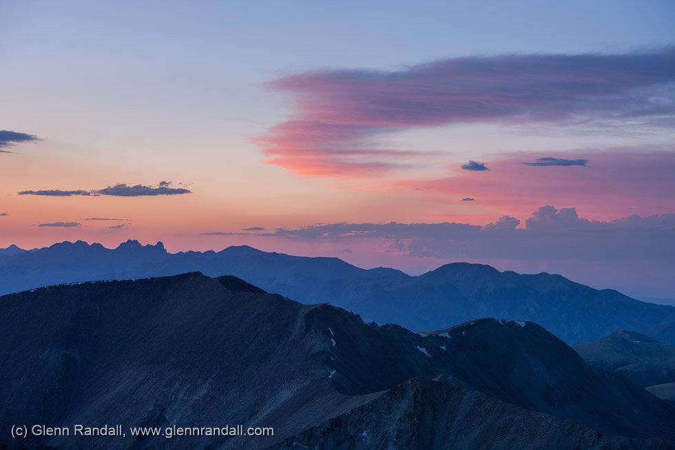 Sunset from Ellingwood Peak, Sangre de Cristo Wilderness, Colorado