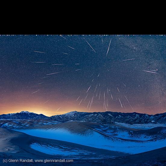 Geminid Meteor Shower over Great Sand Dunes National Park