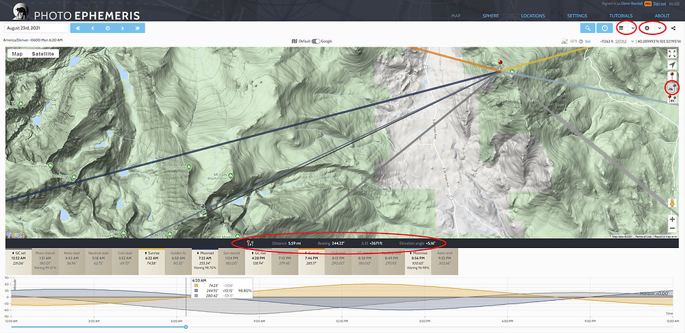 Figure 1. (Click to enlarge.) The Photo Ephemeris Web Pro Map module. The primary marker is set atop Twin Sisters Peak. The secondary marker is placed atop Longs Peak. The geodetics panel (bottom of map) is circled, as is the secondary marker icon, which turns the secondary marker on and off (center-right). The drop-down menus that control the visibility of the chart and timeline and visibility of the sun, moon, and galactic center direction lines are circled in the upper right. The date is set to August 23rd, 2021 -- possibly the best day in 2021 to shoot the full moon setting over Longs Peak from Twin Sisters.