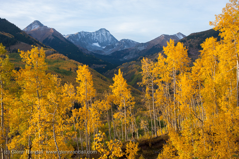 Figure 2: Capitol Peak and aspen after the sun came over the ridge, about 17 minutes after sunrise.