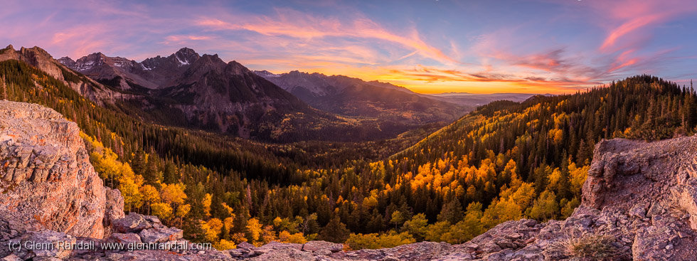 Sunset panorama of Mt. Sneffels and the Sneffels Range from the Sneffels Range Overlook, Mt. Sneffels Wilderness, Colorado