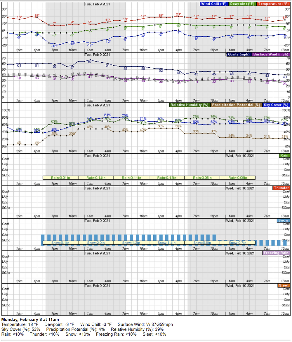 Figure 6. The hourly forecast for 12,999 feet on Longs Peak starting at 11 a.m. on February 8, 2021.